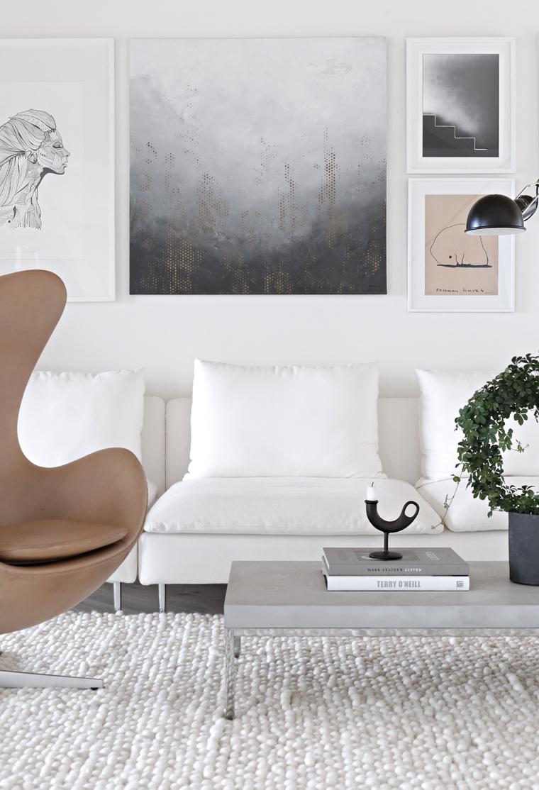 Byninaholst Malerei Nina Holst Stylizimo Blog Bilderwand Wohnzimmer  Einrichten Mit Kust Monochrom Grau Schwarz Weiß Beige
