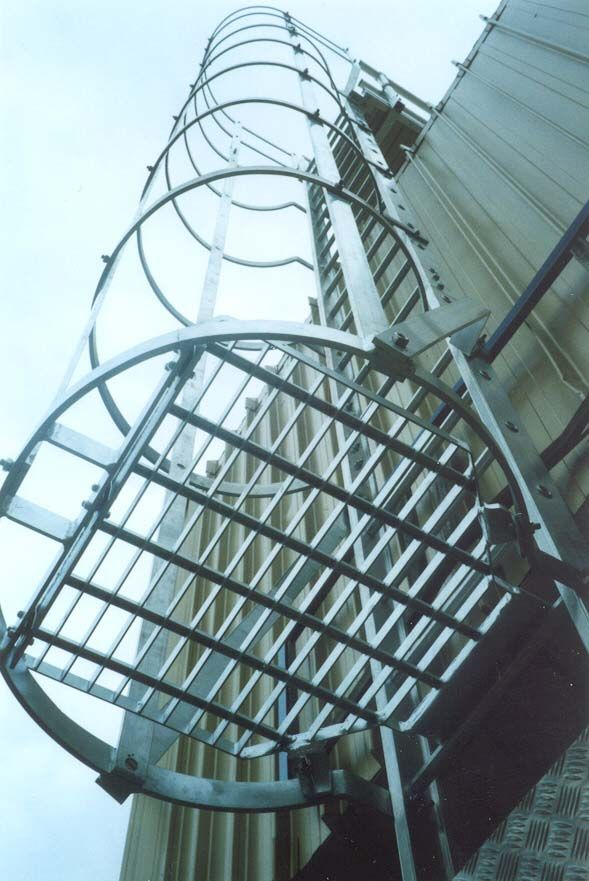 Hooped Fixed Vertical Access Ladder Fabricated And Installed By Clow Group Ltd