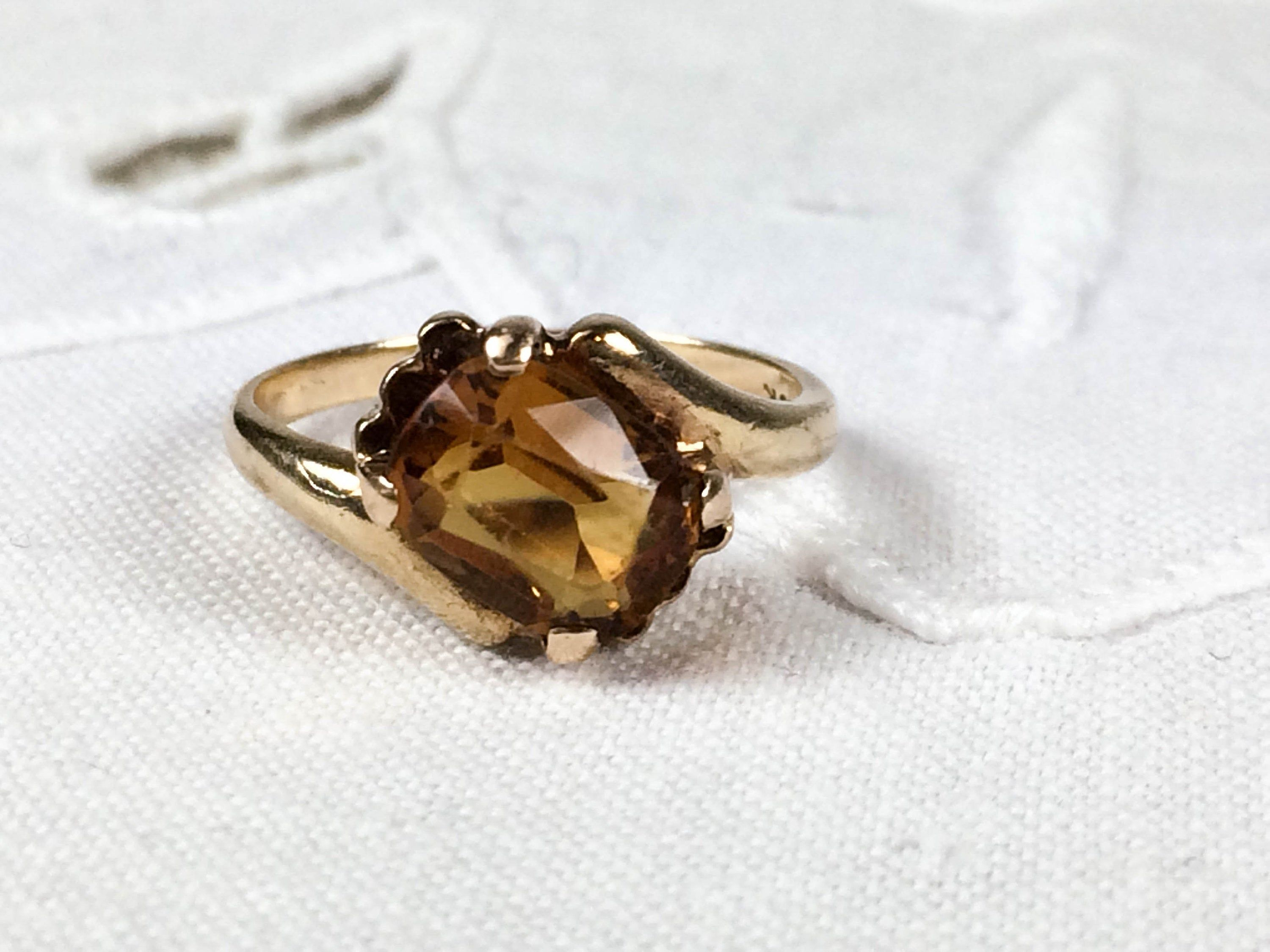 10k Gold And Faceted Citrine Ring Size 4 3 4 Citrine Ring Rings Gold