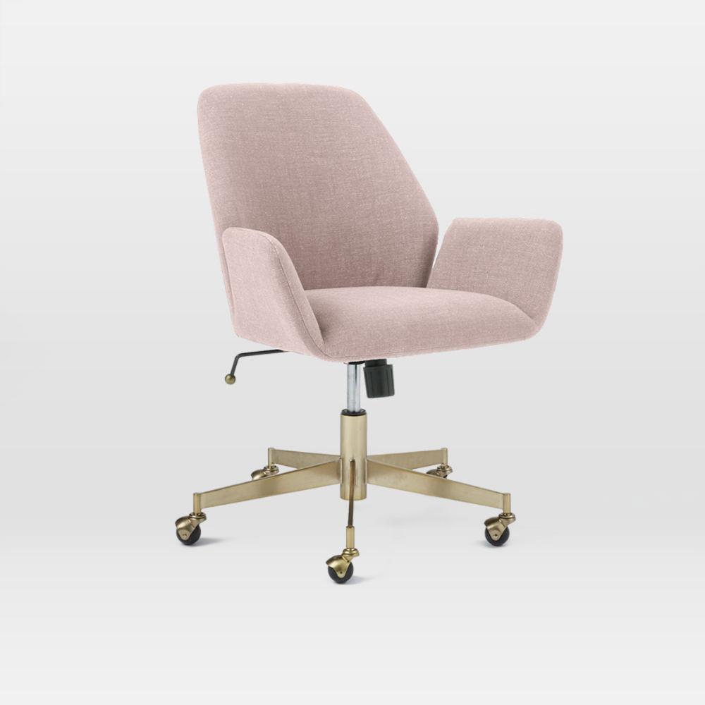 Aluna Upholstered Office Chair Blackened Brass