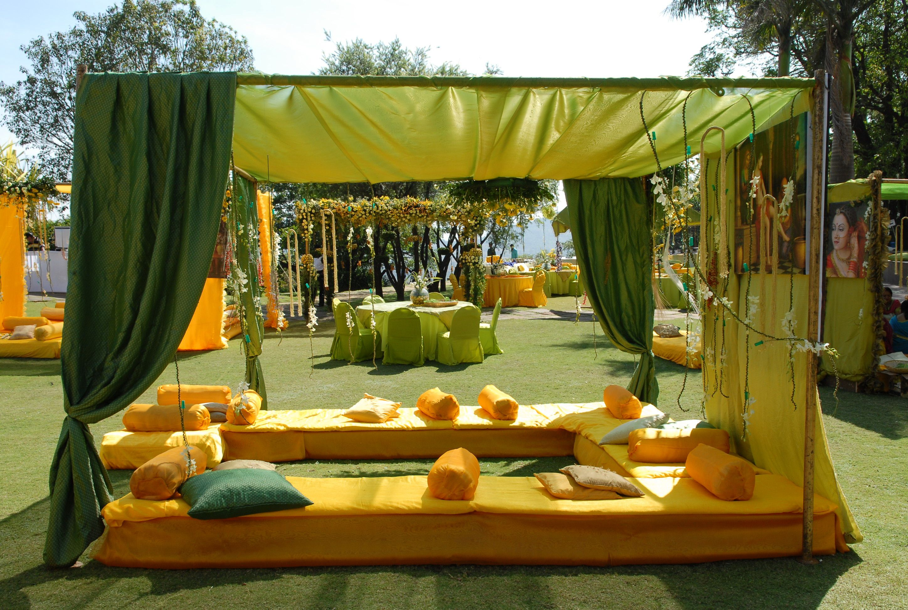 Mehndi tents for the mehendi ladies outside of the main