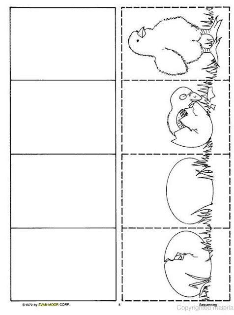 Logische volgorde kuikentje - Kip, Pasen en Kleurplaten