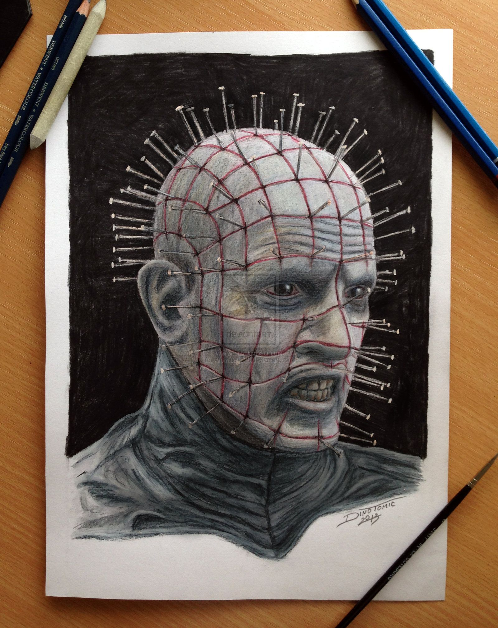 Co color to draw - Pinhead Hellraiser Color Pencil Drawing I Guess You Can Say That I Nailed This Drawing Super Fun And Hard Guy To Draw The Nails Where A Bit Confusing