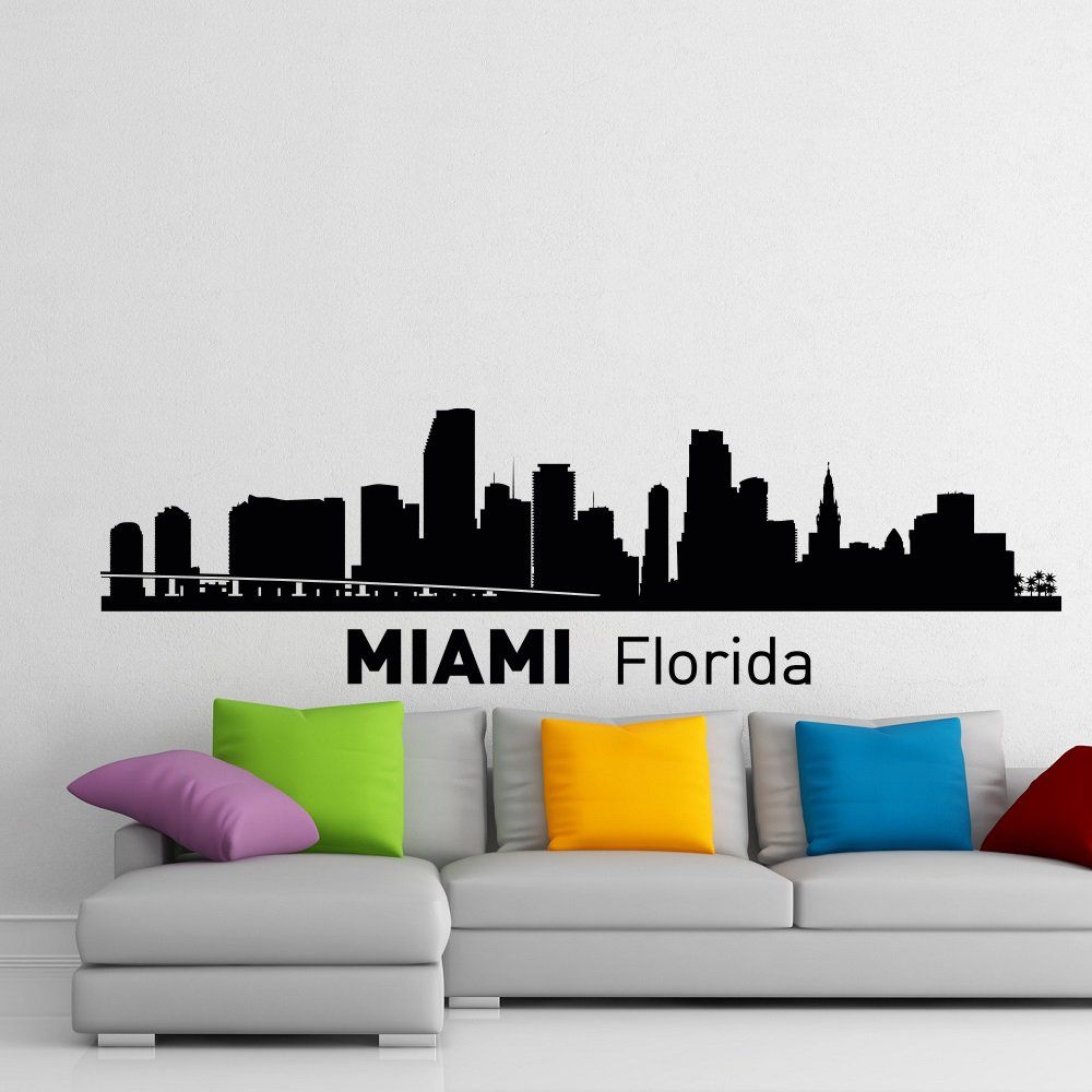 Miami Skyline Wall Decal City Silhouette Florida State Wall Decals Vinyl Stickers College Dorm Business Office Living Room Home Decor C009