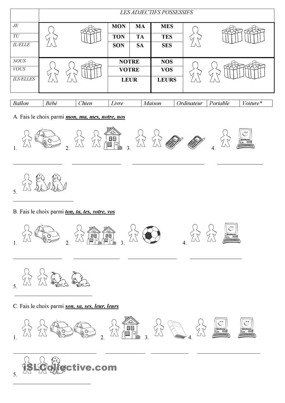les adjectifs possessifs j 39 aime le fran ais pinterest french worksheets worksheets. Black Bedroom Furniture Sets. Home Design Ideas