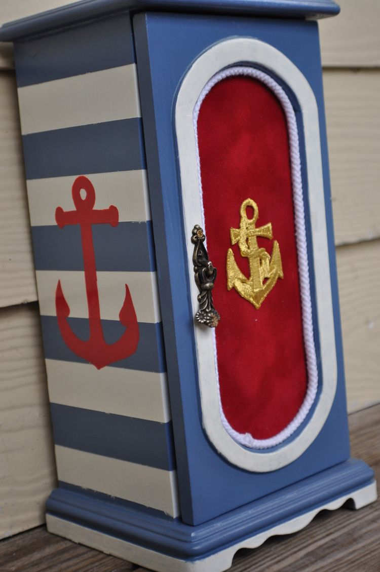hand painted jewelry box nautical diy craft stripes anchor painted
