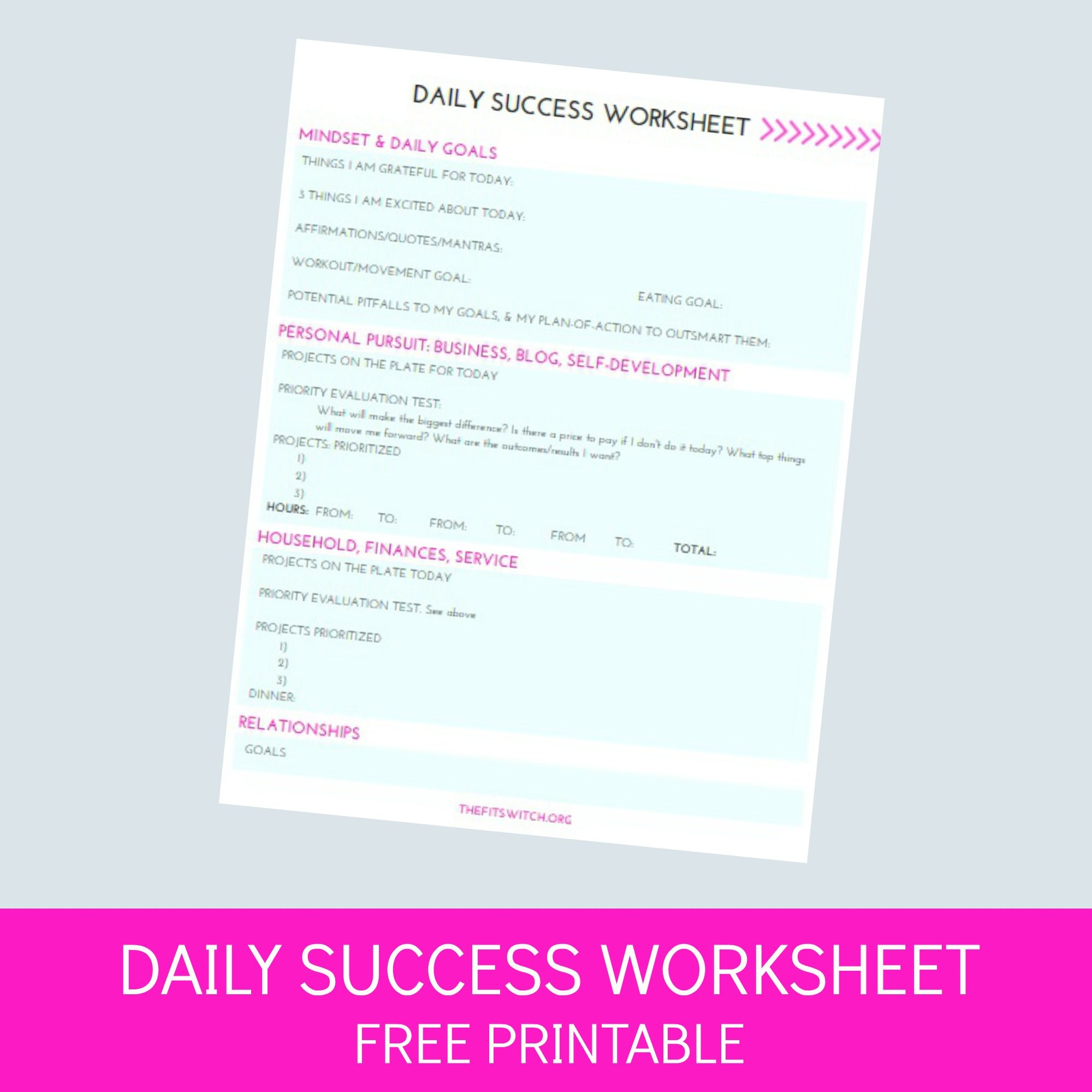 Daily Success Worksheet