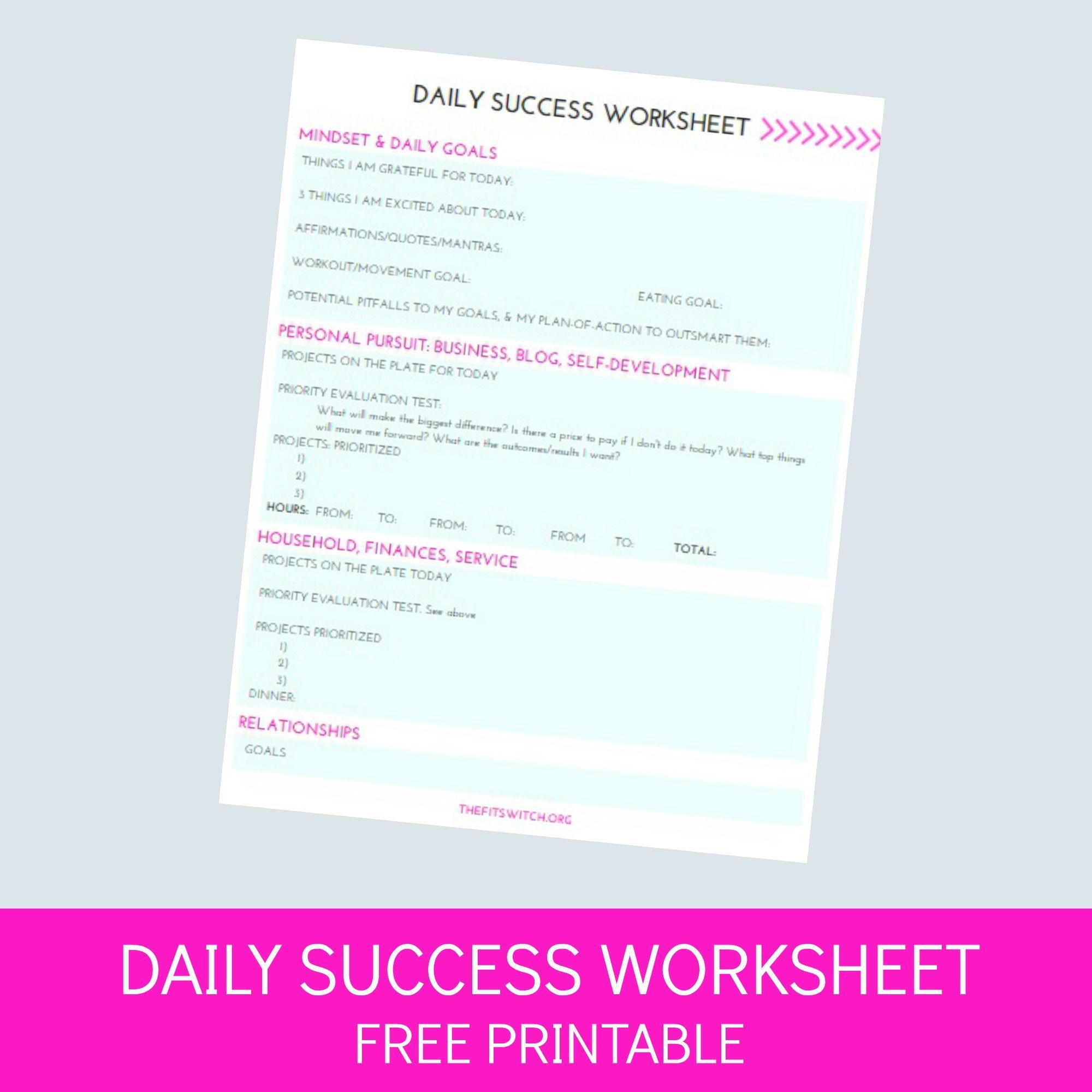 Daily Success Worksheet