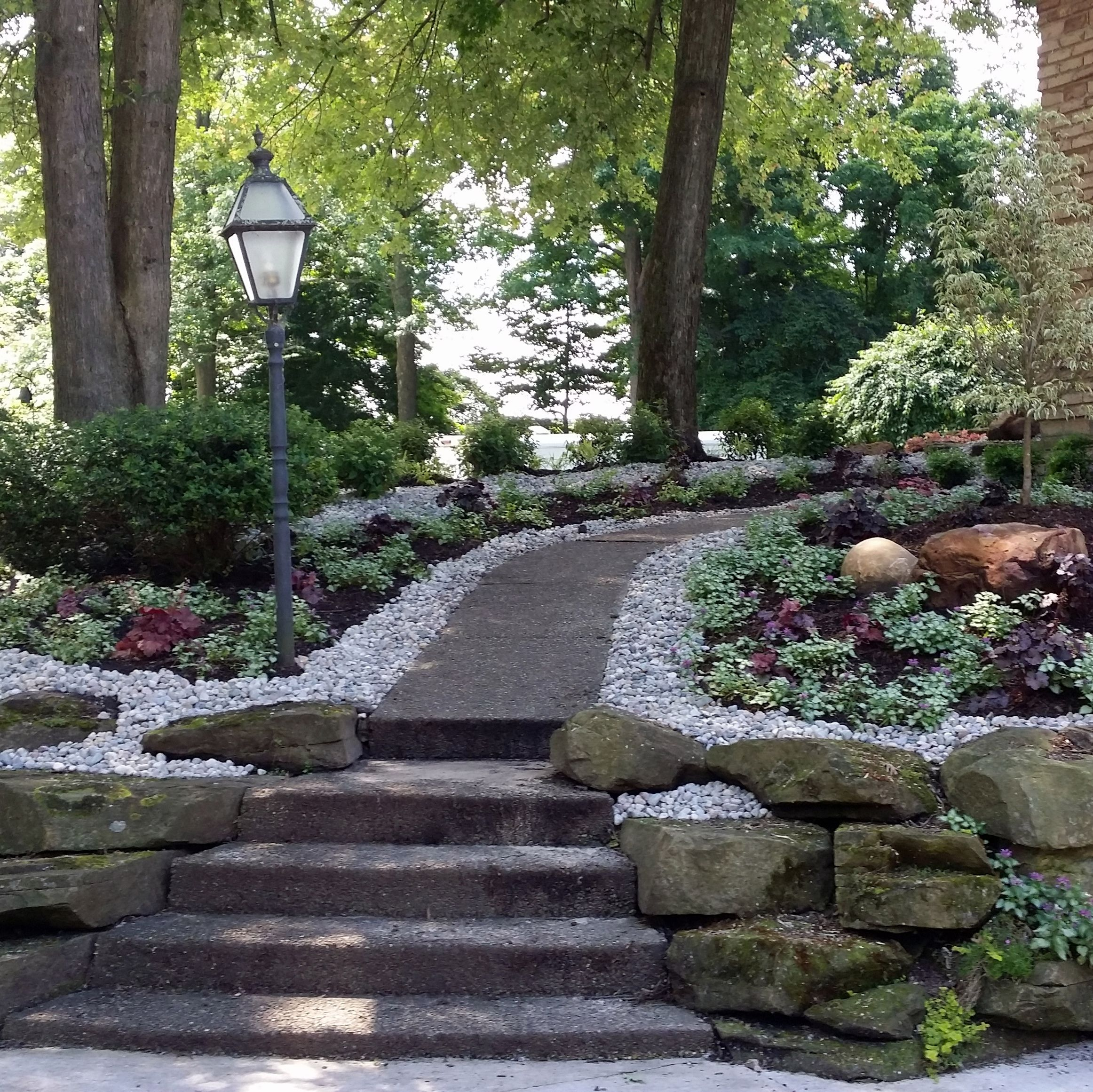 walkway accented with white stone