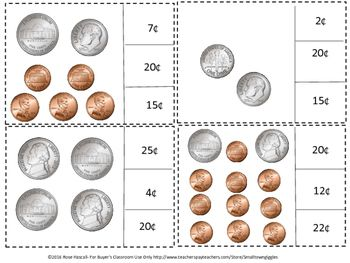 Coin Counting and Clip Cards Life Skills Center Pennies Nickels ...