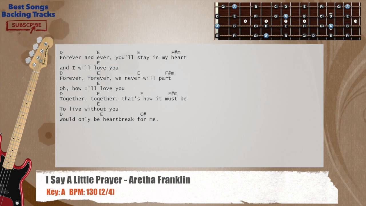 I Say Little Prayer Aretha Franklin Bass Backing Track With Chords