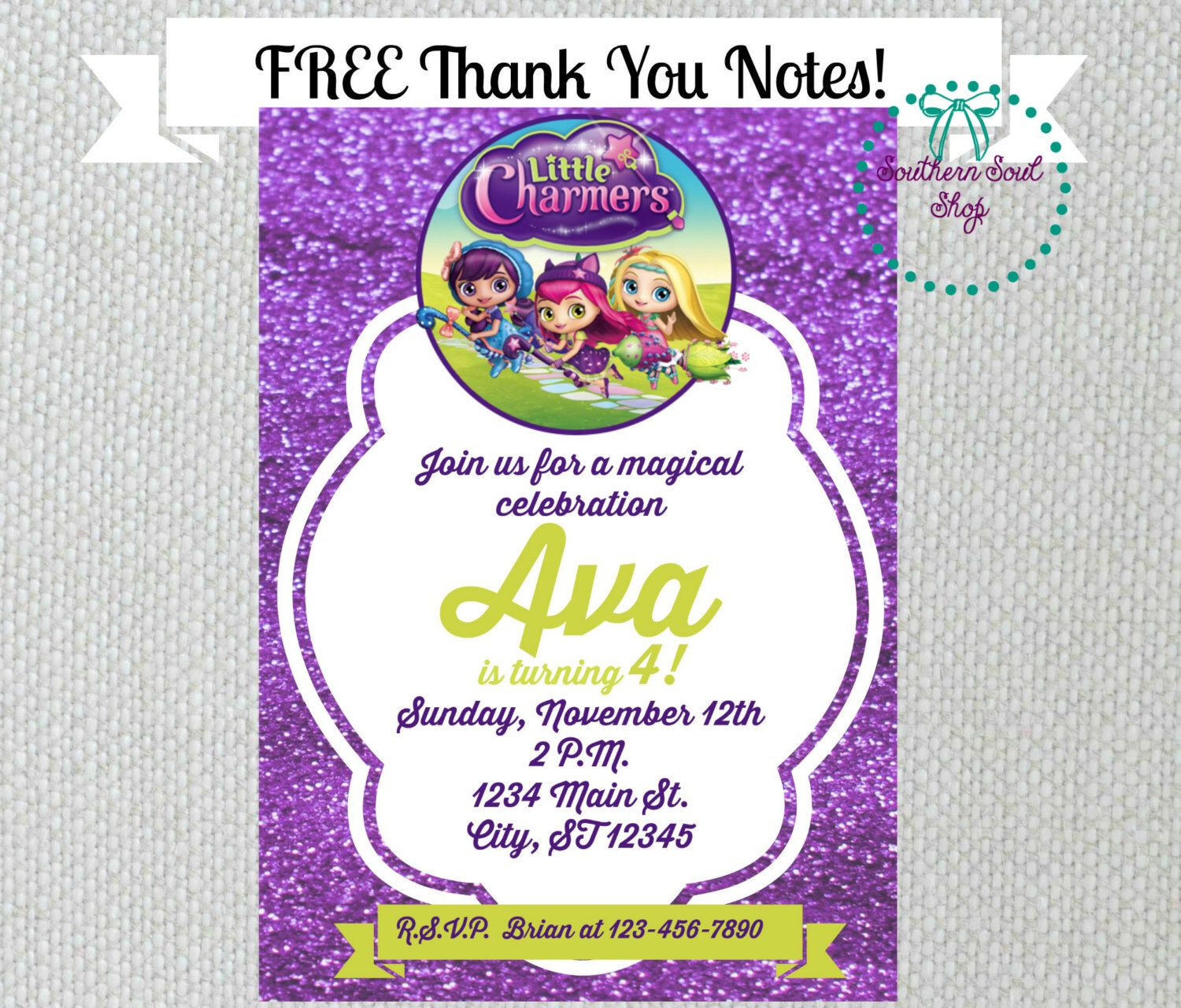 Little Charmers Birthday Party Invitations And Free Thank You Cards