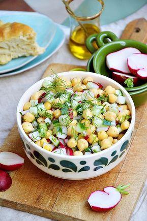 Salatka Z Ciecierzycy Z Ogorkiem I Rzodkiewka Workout Food Food Salad Dishes