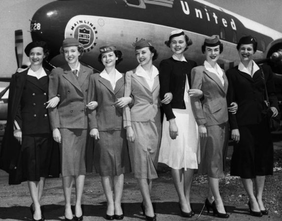 United Flight Attendants Modeling Uniforms From 1930 1955 Flight Attendant Flight Attendant Fashion Flight Attendant Uniform