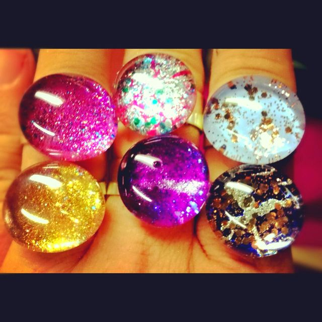 Georgeous Nailpolish Rings. Available on Etsy 7/18/12. Price $12.00.  #rings #bling #jewelry #DIY #design #cute #handmade #artisan #style #fashion #tutorial coming soon!