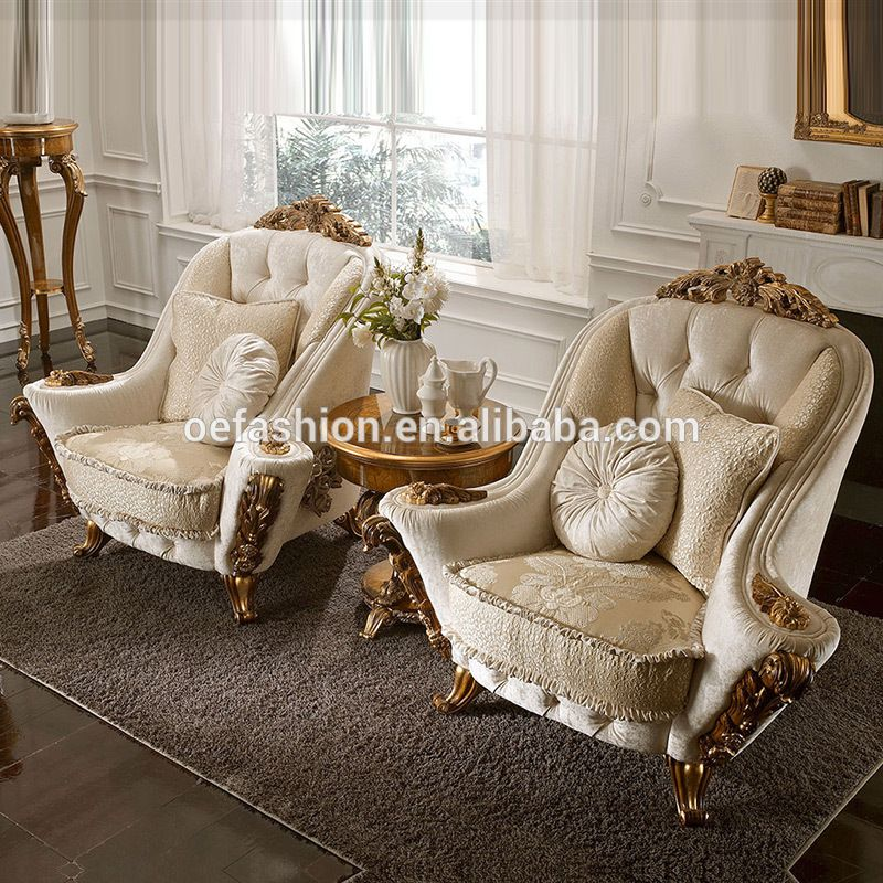 Luxury White Sectional Vintage Italian Living Room Fabric Sofa Set
