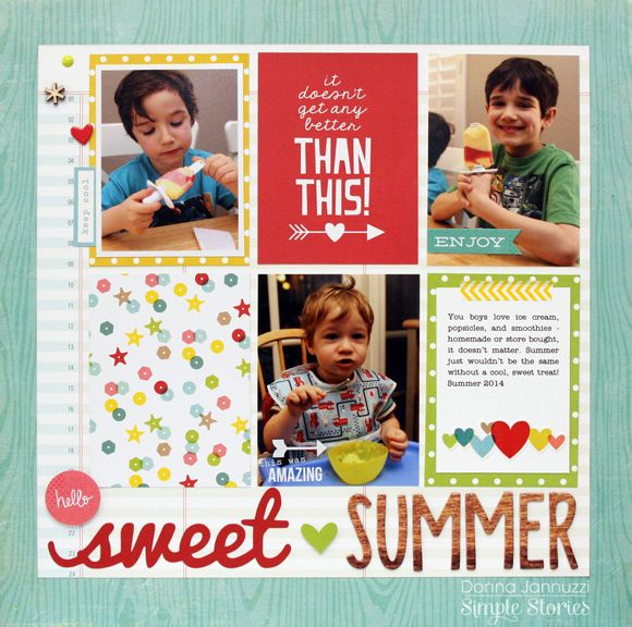 Sweet Summer - Scrapbook.com - Use 3x4 cards on a layout.