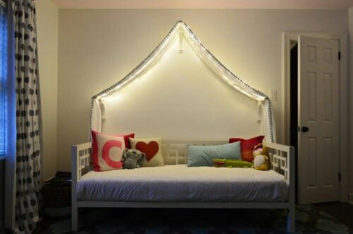 Canopy over daybed/sofa - love this idea from young house love for Evieu0027s room & Canopy over daybed/sofa - love this idea from young house love for ...