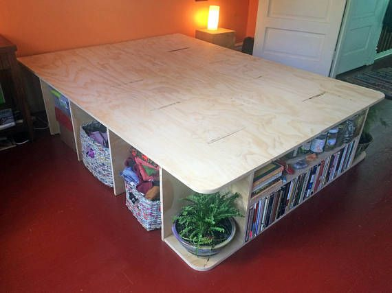 Deluxe Plywood Bed Frame With Storage Cubbies Book Shelves And