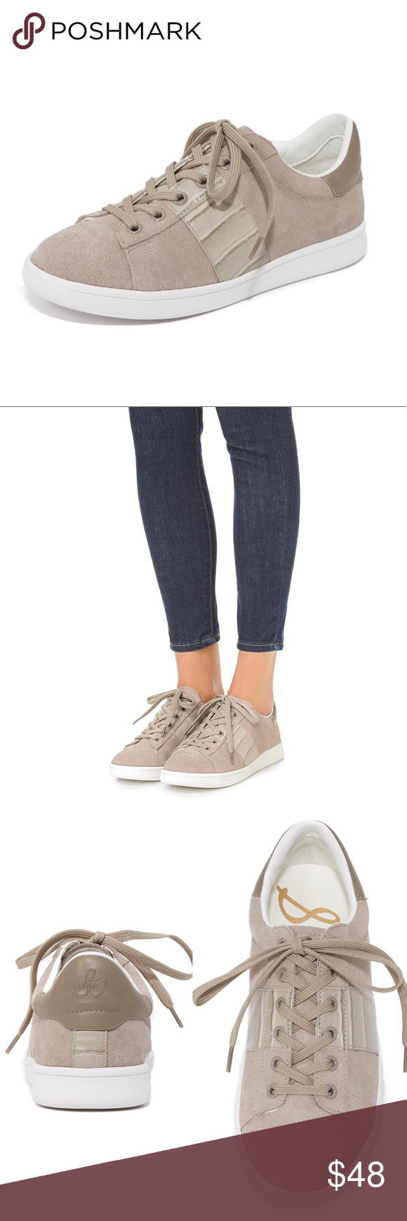 816c172fa Sam Edelman Marquette Sneaker Casual lace up suede sneaker with  croc-embossed side accents. Brand new