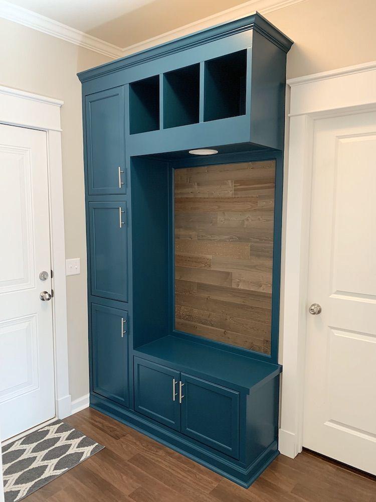 Custom Mudroom Drop Zone From Prefab Cabinets In 2020 Prefab Cabinets Mud Room Storage Drop Zone
