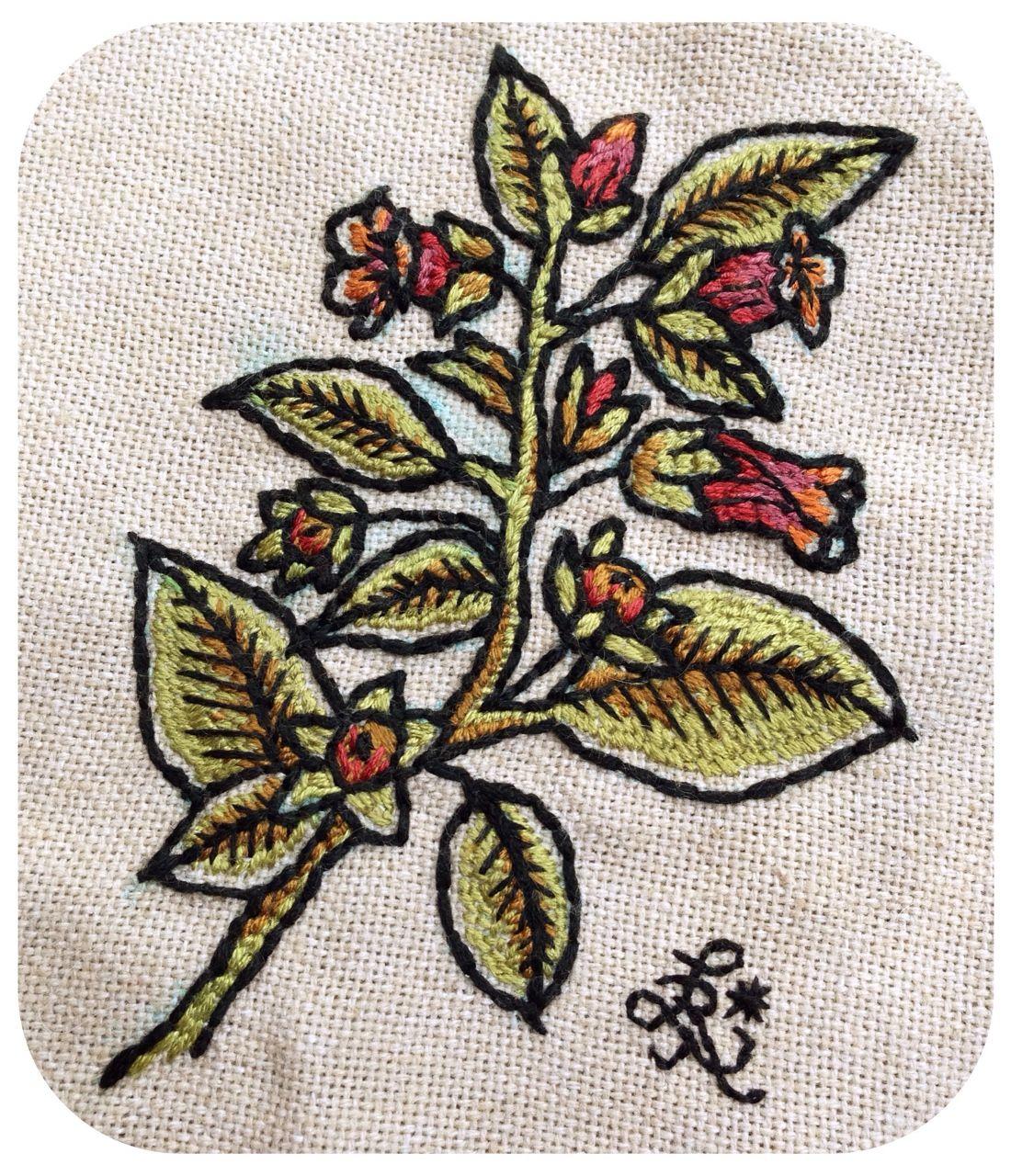 catxbone:  belladonna.  leslie kneisel, cotton on linen, 2015.