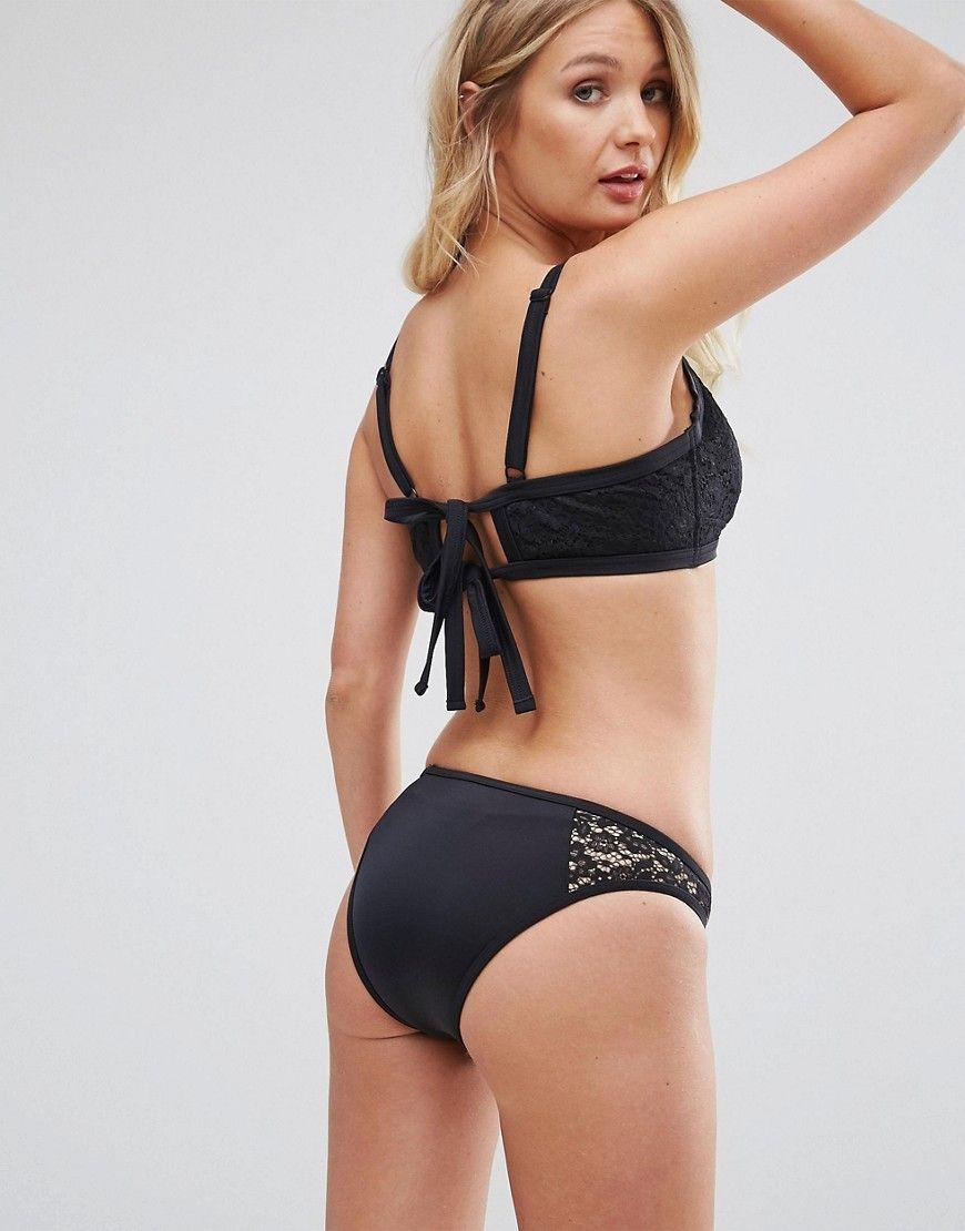 0007a7f65a1a7 ASOS FULLER BUST Lace Hidden Underwire Bikini Top DD-G - Black ...