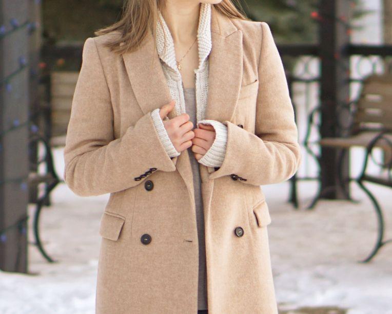 Camel Coat & Intarsia Sweater - Zara Coat & Jeans, Artizia TNA Sweater, Franco Sarto Booties    #fashion #womensfashion #zara #myaritzia #winterfashion #winter #camelcoat #denimjeans #style #fashionblog #outfit