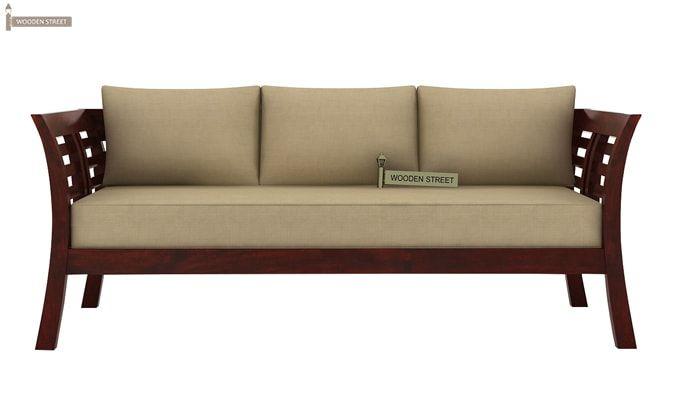 Darwin 3 Seater Wooden Sofa Mahogany Finish 3 Wooden Sofa Designs Wooden Sofa Sofa Furniture