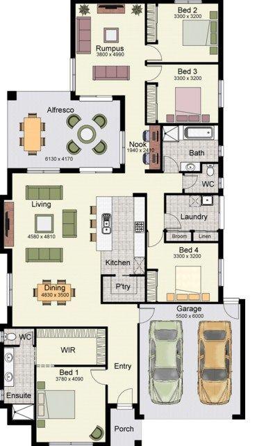 Plano de casa de un piso con 4 dormitorios y cochera doble for Pisos para cochera