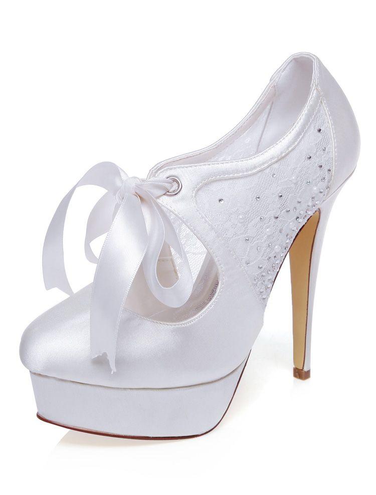 ac990dcf3 Zapatos De La Boda Elegante Del Satén Con Encaje Tacones De Aguja Zapatos  De Novia De Tacones Altos Con Plataforma