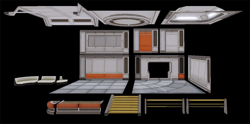 Modular Floor Tiles Outlined In Shadow Spaceship Interior
