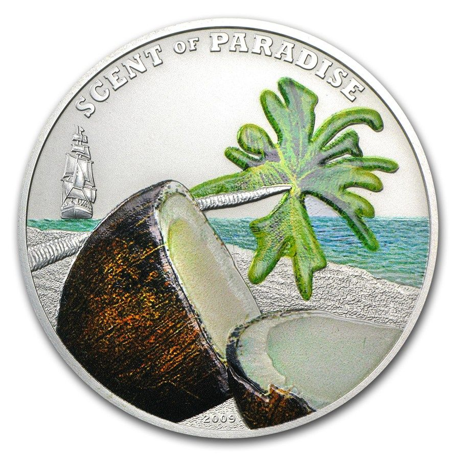 2009 Palau 25 gr $5 silver coin - Scent of Paradise: Coconut ...