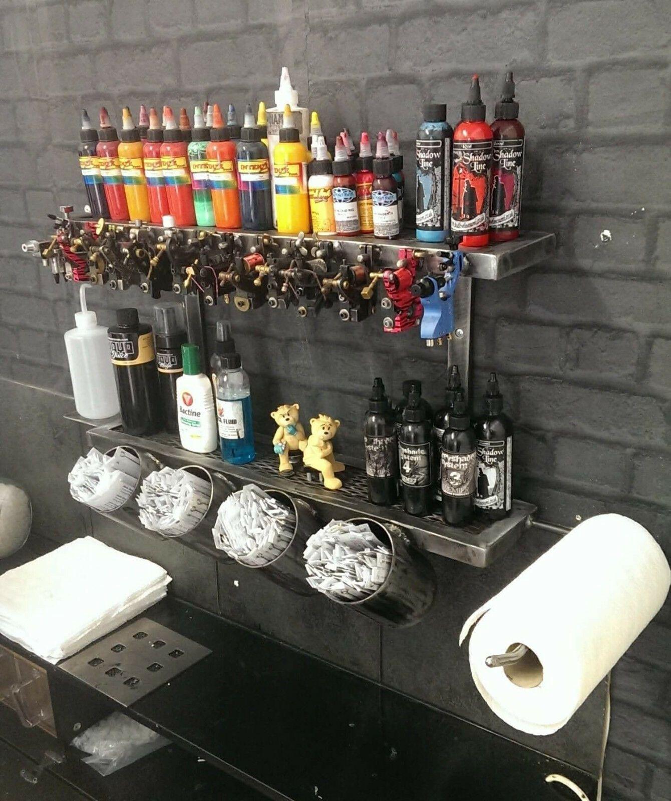 Photo of Industrial Style Custom Made Wall Mounted Tattoo Station Handmade | Vinterior