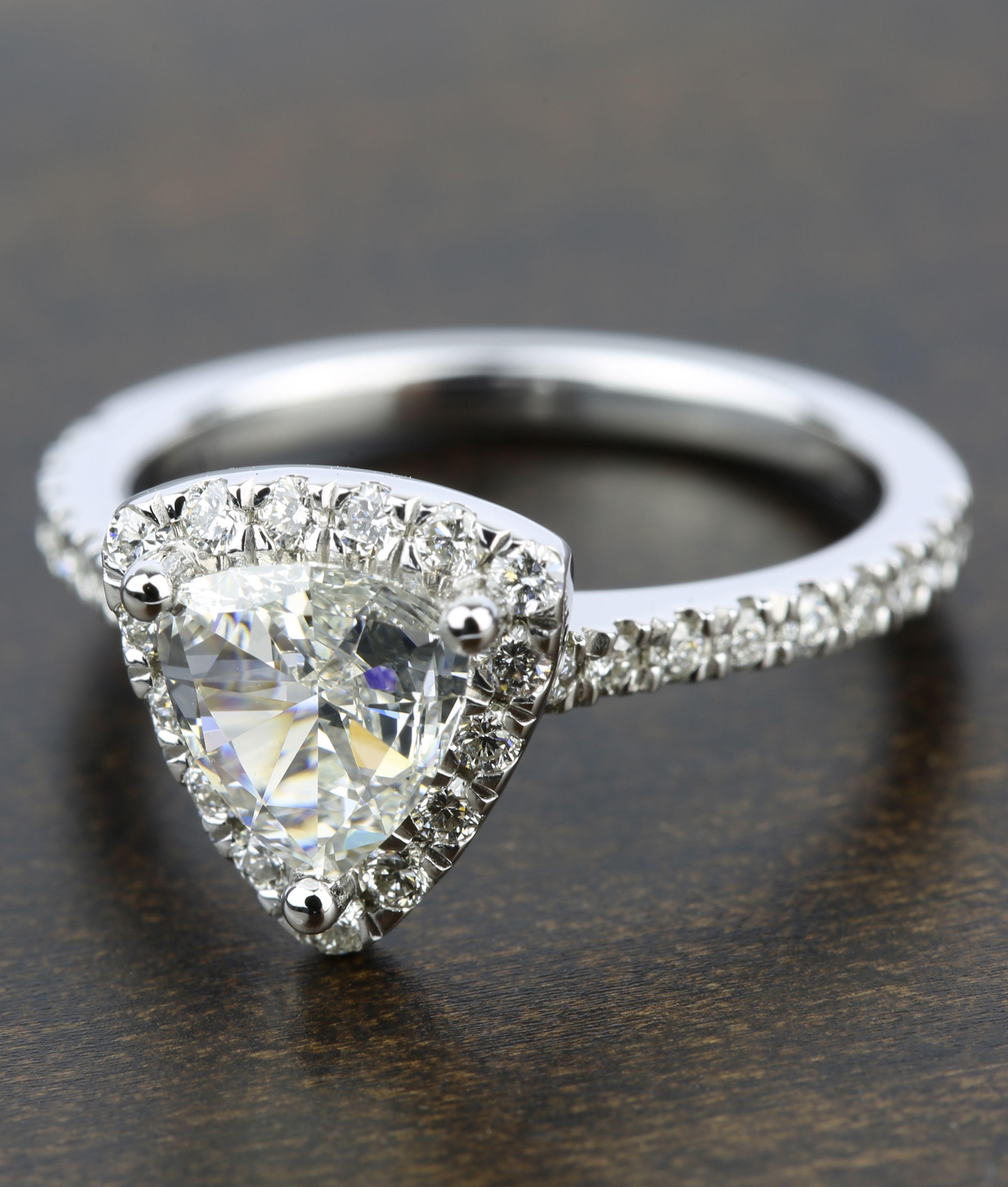 Trillion Diamond Halo Engagement Ring in White Gold Halo
