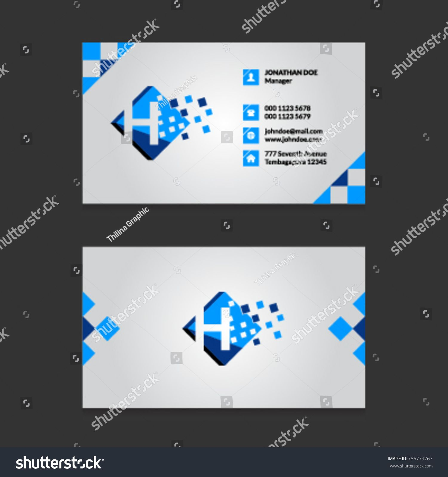 H Pixel Letter Logo with Modern Business Card Template