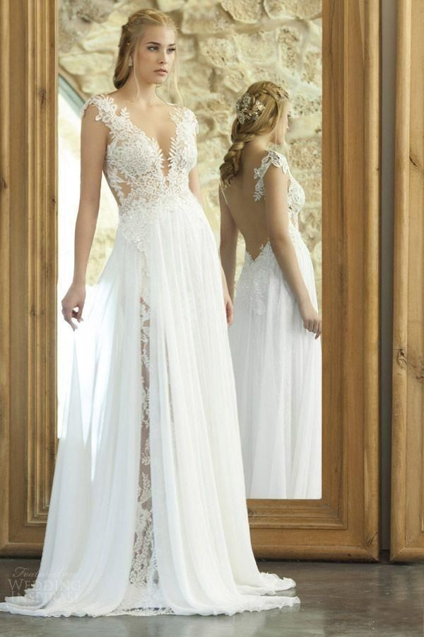 Fancy New Arrival Elegant Summer Beach Wedding Dresses With Chiffon Lace V Neck Side Split Backless