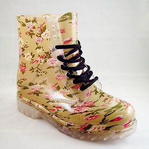 Fashion Jelly Clear or Solid Color Rain Boots Lace Up Waterproof | eBay