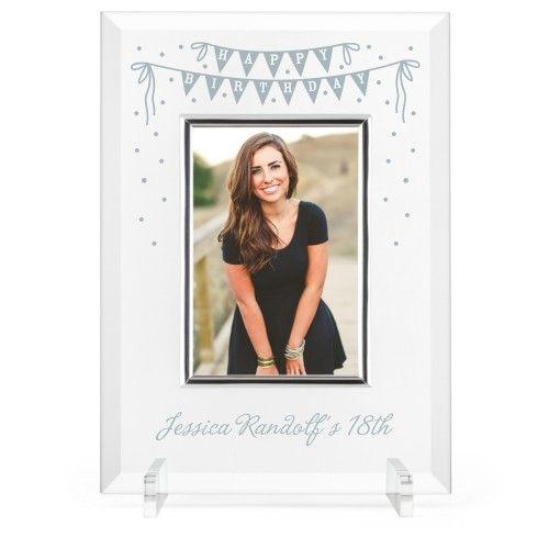 Birthday Banner Glass Frame, 8x11 Engraved Glass Frame, - No photo ...