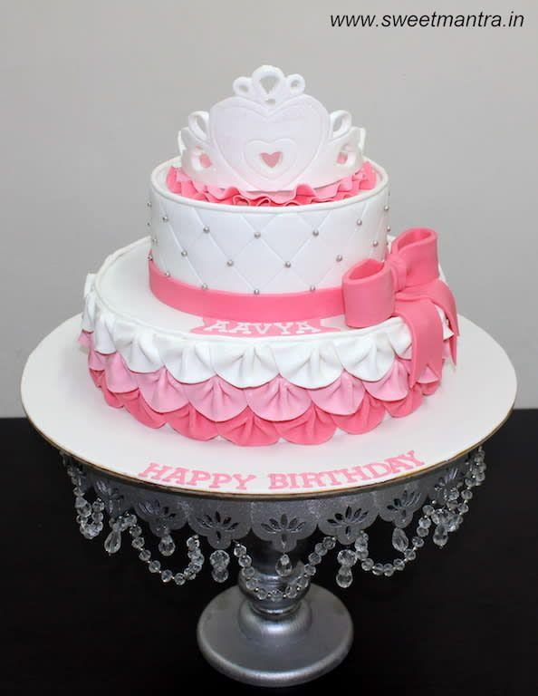 Princess theme 2 layer designer fondant birthday cake with 3D tiara