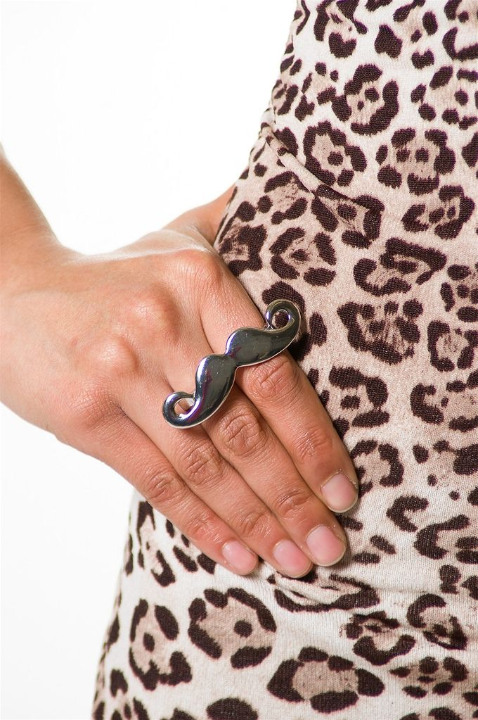 Brooke this is for you!!!   Mustache Knuckle Duster - Silver from Pink by Ele at Lucky 21 Lucky 21