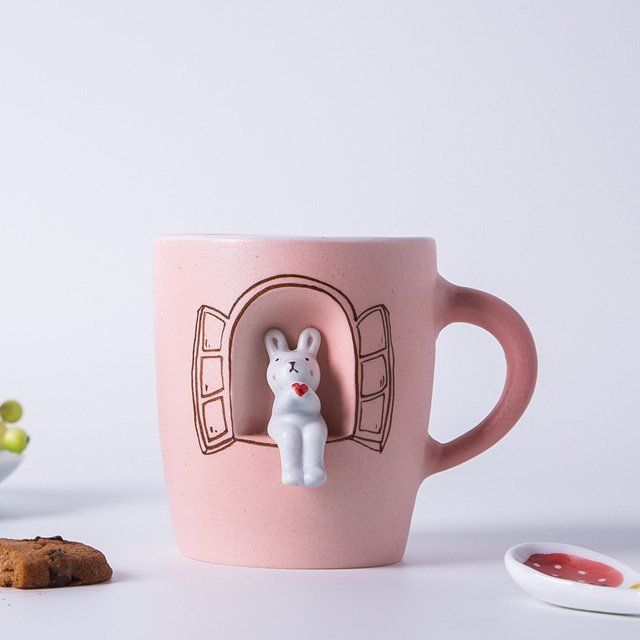 Fancy - Creative Handmade Cute Rabbit Ceramic Mug #ceramicmugs