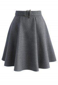 Girls Meet Vogue Wool-blend Skirt in Grey