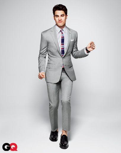 Darren Criss rocking the grey suit.