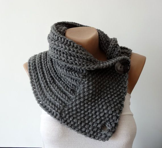 Hand Knitted Scarf, Neck Warmer, Button Scarf, Chunky Knit Neck ...