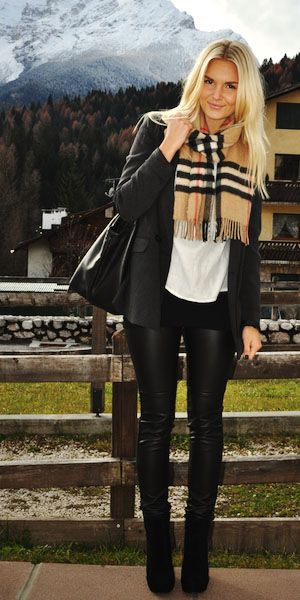 Liquid leggings, black blazer, black booties, and a Burberry scarf.