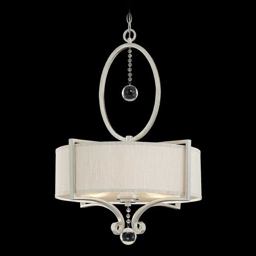 Savoy House Silver Sparkle Pendant Light with Drum Shade | 7-253-3-307 | Destination Lighting