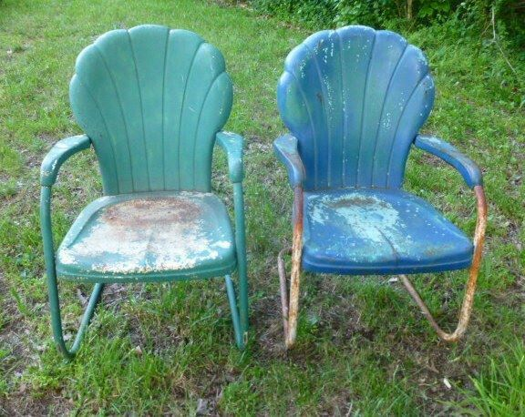 vintage metal porch chairs shell back