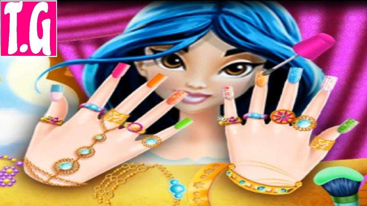 Princess Jasmine Nails Salon Games For Kids Hd 1080p Twins Games
