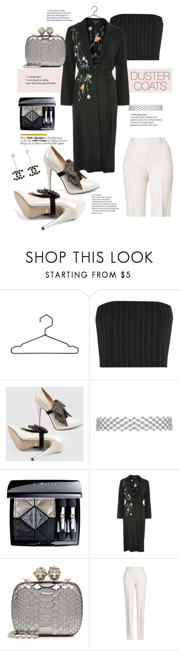 """""""Contest: duster coats"""" by thequeen-bee ❤ liked on Polyvore featuring Thierry Mugler, Gucci, Christian Dior, Topshop, Alexander McQueen, Jil Sander and Chanel"""